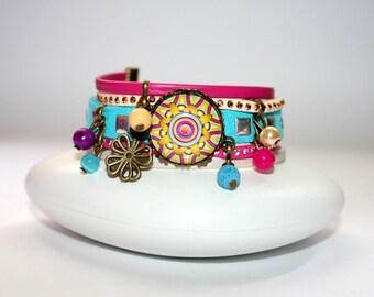 Bracelet cuff Mandala psychedelic purple, yellow, fuchsia and turquoise