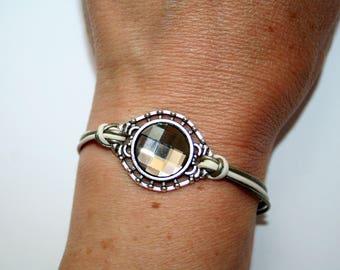 Leather and gray Swarovski Crystal bracelet