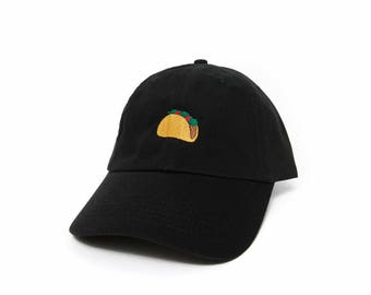 Taco Hat, Taco Dad Hat, Taco Baseball Cap, Embroidered Baseball Cap, Adjustable Strap Back Baseball Cap, Low Profile, Black