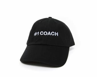 Coach Hat, #1 Coach Hat, #1 Coach Baseball Cap, Embroidered Baseball Cap, Adjustable Strap Back Baseball Cap, Low Profile, Black