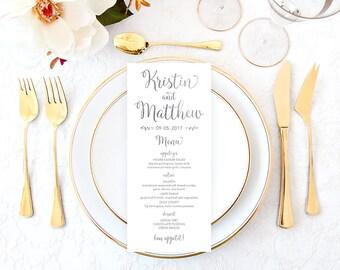 Silver Wedding Menu, Silver Wedding, White Silver Wedding Menu, DIY Wedding Menu, Faux Silver Foil Menu, Bridal Shower Menu, Menu SFWF
