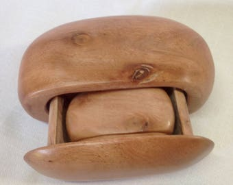Sculpted band saw/scroll saw box in the shape of a rock with drawer and a small rock w/drawer inside.
