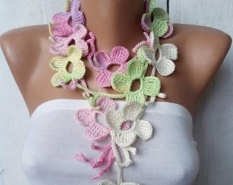 On sale Crochet Flower lariat garland necklace Floral Leaf scarf Neck accessories Mother day gift