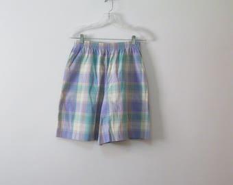 Vintage Misses Size L Lavender Teal Beige Walking Short with Elastic Waist and Pockets SEE Details