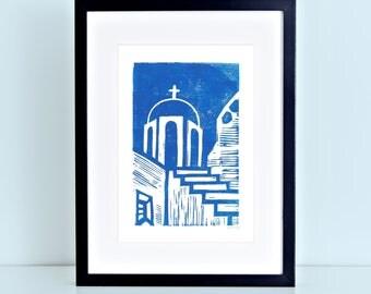 Santorini Greece Linocut Block Print Greek Artwork Blue Roof Cycladic Architecture 8x10