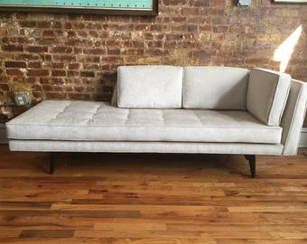 Edward wormley Dunbar white velvet chaise lounge #5525 beautiful sofa counch daybed mid century modern