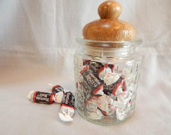 Easter gift, for women,  Jar, glass jar, utility jar with hand turned berangan wood lid, wood lidded jar