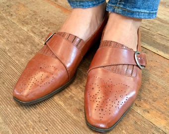 VTG Brown Leather Monk Strap Flats ~ Womens Size 10.5-11 Larger vintage 80s