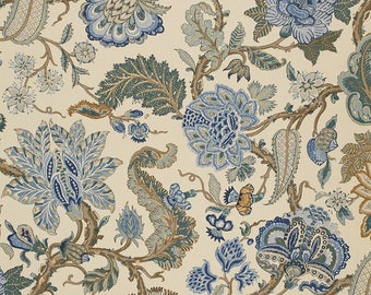 SCHUMACHER JACOBEAN TREE of Life Linen Fabric 10 yards Blue Multi