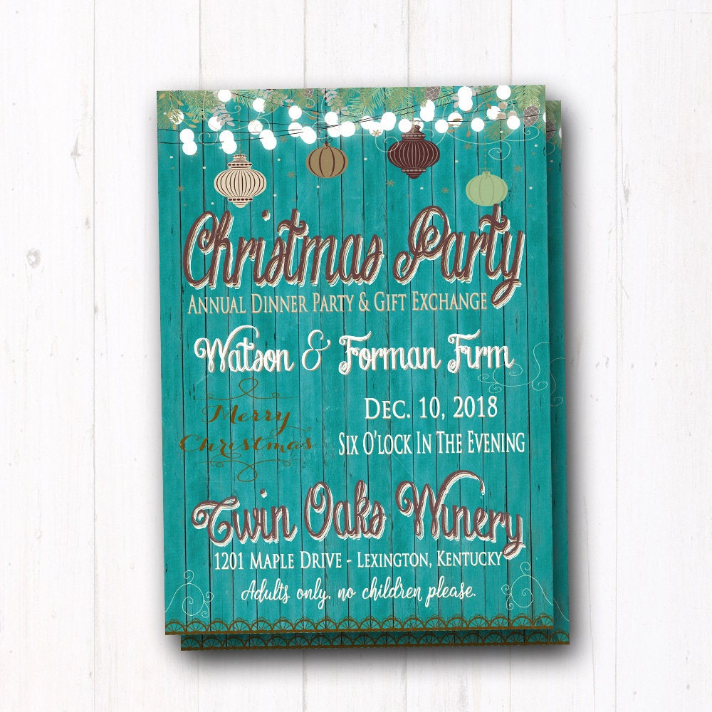 Turquoise Christmas Party Invitation Company Staff Holiday