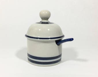 Dansk Designs Blue Mist Stoneware Jar With Spoon Blue Stripe Niels Refsgaard for Dansk Denmark