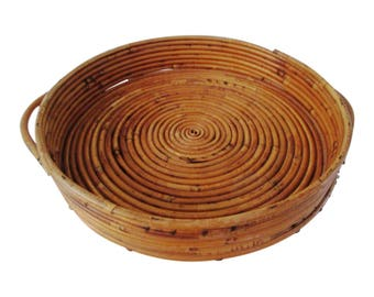 Round Double-Handle Coiled Rattan Tray
