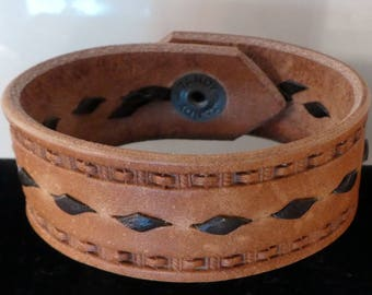 Hand Stamped Leather Cuff Bracelet with buck stitching