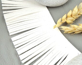 braid a suedine fringe white 45mm by 20cm