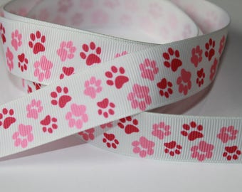 "7/8"" inch Hot Pink and Light Pink Paw Prints on White - Adopt me - Dogs -  Printed Grosgrain Ribbon for Hair Bow TheFabFind"