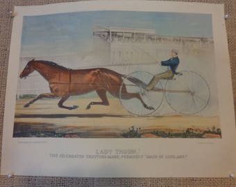 Antique Currier & Ives hand colored prints, rare horse racing prints