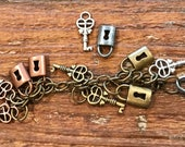 Tiny locks and keys charms findings, silver tone, brass tone, copper tone, jewelry making supply lot