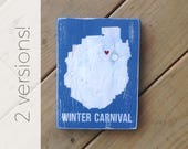 Winter Carnival or Happy Carnival Adirondack Park Silhouette - Adks - Adirondacks - Saranac Lake - ADK - Ice Palace - Ice Castle