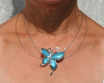 Turquoise blue butterfly necklace