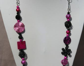 Necklace fuchsia and black
