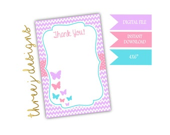 Butterfly Birthday Party Thank You Card - INSTANT DOWNLOAD - Bright Purple, Pink and Blue - Digital File - J011