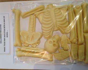 Skeleton bones in white chocolate