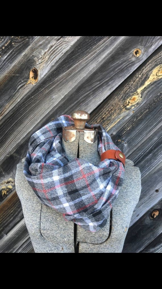 red, white and gray plaid flannel eternity scarf with a brown leather cuff - soft, trendy