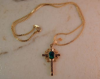 "Gold Cross with Paua Shell cabochon and 18"" Serpentine Chain"