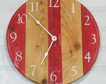 Round Wall Clock - Red Stripes