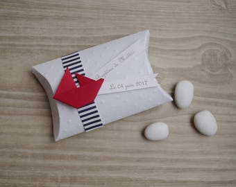 Hand made dragees + boat sailor theme origami box / nautical - thank you welcome birthday gift, baptism,