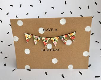 Floral mini bunting birthday card- unique and colourful.