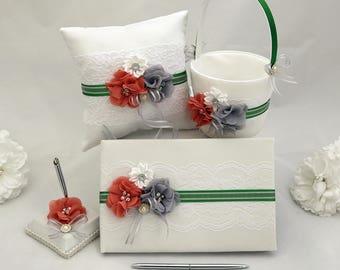 Wedding Accessory Set, Custom wedding Accessories, Flower Girl Basket, Ring Bearer Pillow, Guest Book, Pen Set