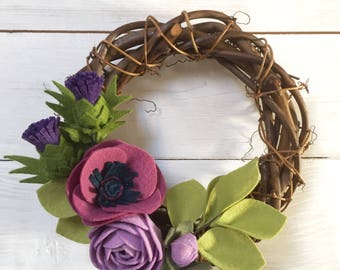 Scottish mid-size wreath; ***new design!*** felt flowers with thistle, anemone and rannunculus