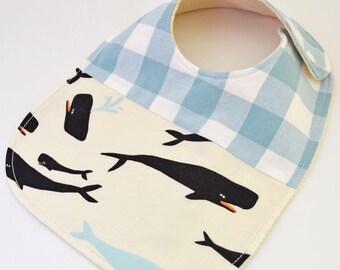Whale baby bib, nautical baby gift, organic baby bib, organic baby gift, nautical baby bib, baby bib, drool bib, organic baby, bib, whale