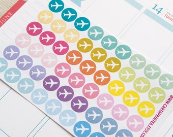 54 repositionable Travel sticker, flight airplane sticker, planner stickers, reminder calendar sticker eclp filofax happy planner kikkik