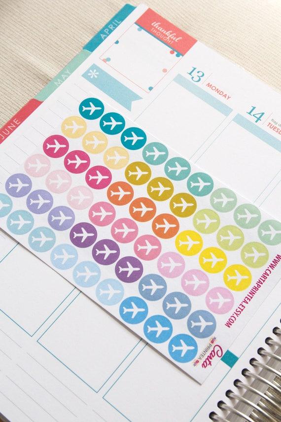 Calendar Planner Reminder Stickers : Repositionable travel sticker flight airplane