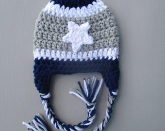 Crochet Dallas Cowboys Hat Football Beanie Baby Boy Dallas Cowboys Hat Baby girl Dallas Cowboys Beanie Football Hat Newborn Photo Prop