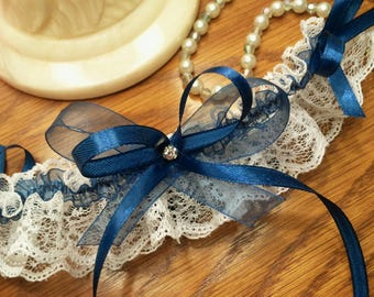 Wedding garter white lace and Navy Blue organza