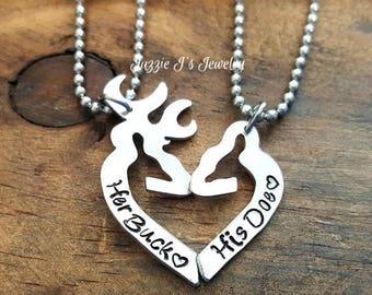 Her Buck His Doe Necklace Set, Personalized Set, Personalized Gift Set for Couples, His and Hers Necklaces, Handstamped Buck & Doe Necklace