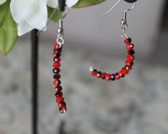 Beaded Double Crescent Earrings, Red and Purple Glass Beads, Fashion Earrings
