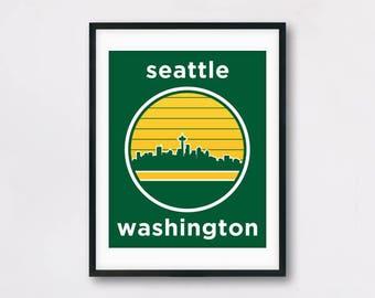 Seattle Washington Travel Poster - Seattle Skyline Poster