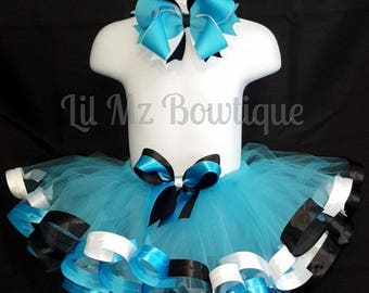 Alice in wonderland Ribbon trim tutu skirt with matching hair bow, Ribbon trim tutu, ribbon trim tutu set, ribbon trim skirt, tutu skirt