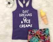 Day Dreams and Ice Creams Tank Top - Summer Spring Purple Teal Racerback Shirt - Girls Kids, Toddler, Bab, Summer Racerback Tee, Girls Shirt