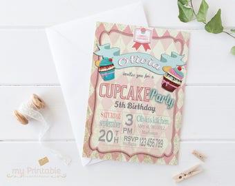 Cupcake Birthday Invitation / Digital Printable Invite for Kids / Birthday Party / DIY