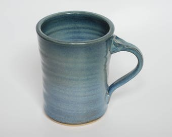 Beer stein, large beverage mug, blue stoneware