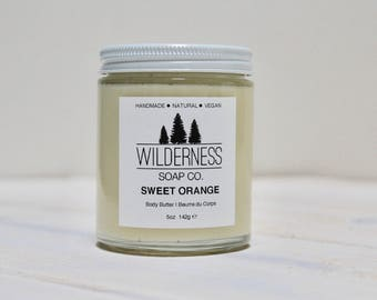 SALE - Sweet Orange Body Butter, Natural Body Butter, Vegan Body Butter, Handmade Body Butter