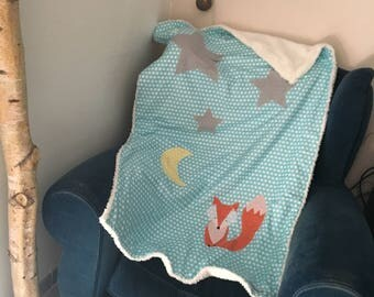Fox baby blanket, Moon and stars fabric in shades of blue