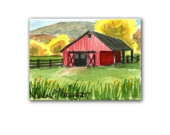 Red Barn Farm Stable  llmartin Original ACEO Father Grandma Grandpa Miniature Watercolor Free Shipping USA Child Children