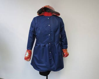 coated blue raincoat lined fleece patterns Indian size 38-40 feet of Brown and beige houndstooth