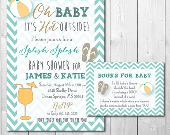 Couples Baby Shower Invitation printable/Digital File/pool party, swim, summer baby shower, book request, boy, girl/Wording can be changed